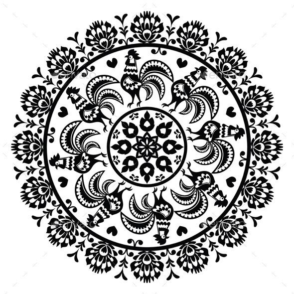 Monochrome Polish Folk Art Pattern - Patterns Decorative