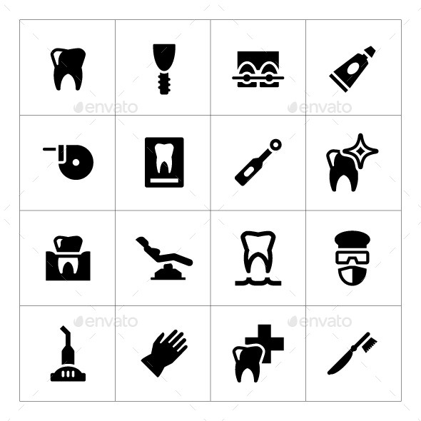 Set Icons of Dental - Man-made objects Objects