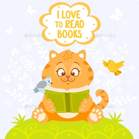 Cat with Book - Animals Characters