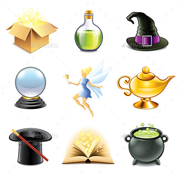 Magic and Sorcery Icons Vector Set - Abstract Conceptual