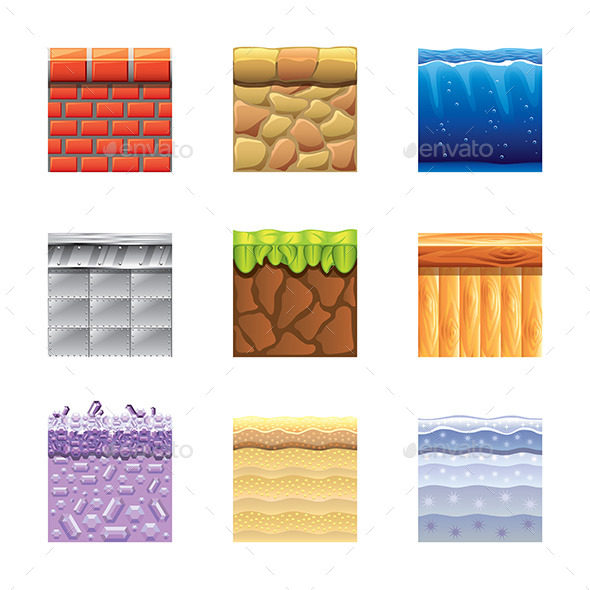 Textures for Platformers Icons Vector Set - Backgrounds Business