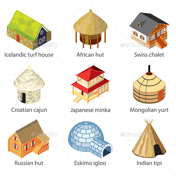 Houses of Different Nations Icons - Buildings Objects