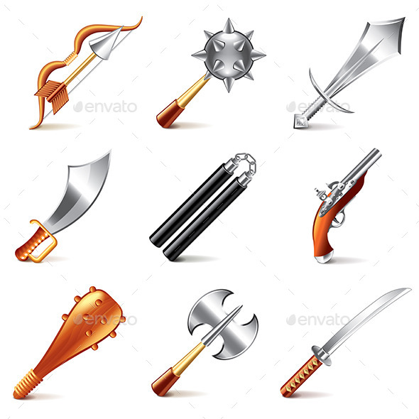 Old Weapons for Games Icons  - Miscellaneous Vectors