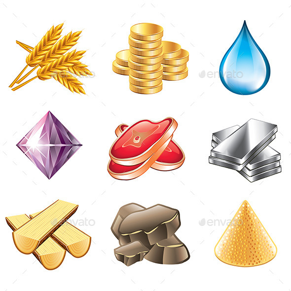Game Resources Icons  - Miscellaneous Vectors