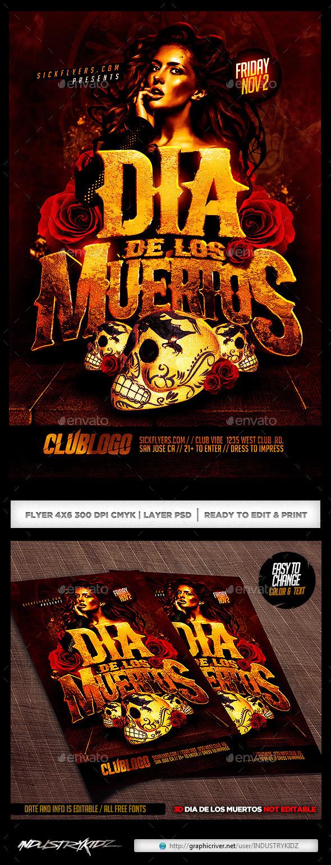 dia de los muertos flyer by industrykidz