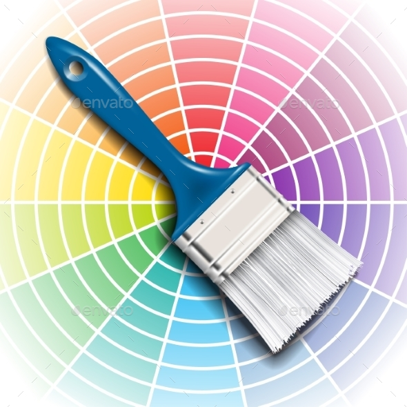 Paint Brush and Color Wheel - Man-made Objects Objects