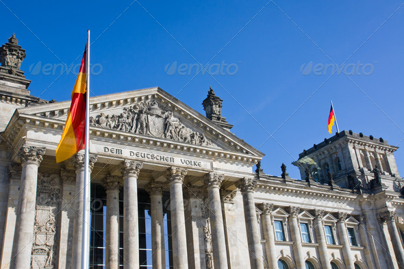 Reichstag with german flag - Stock Photo - Images