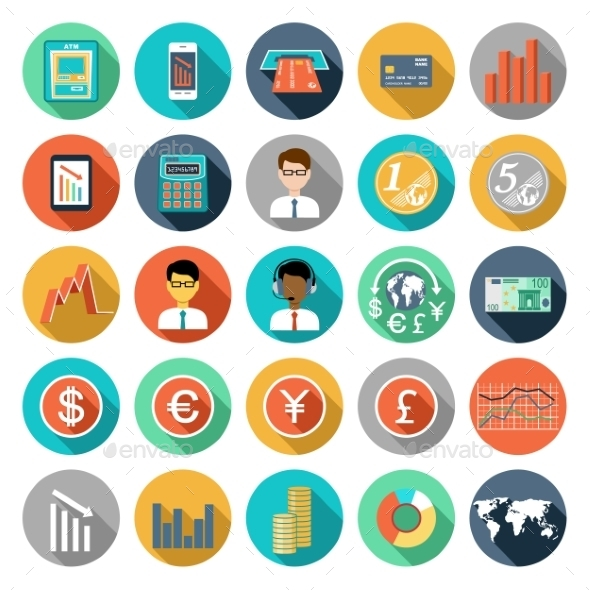 Set of Flat Design Icons Infographics - Business Conceptual