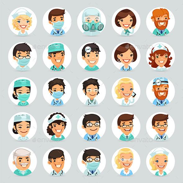 Doctors Cartoon Characters Icons Set - Health/Medicine Conceptual