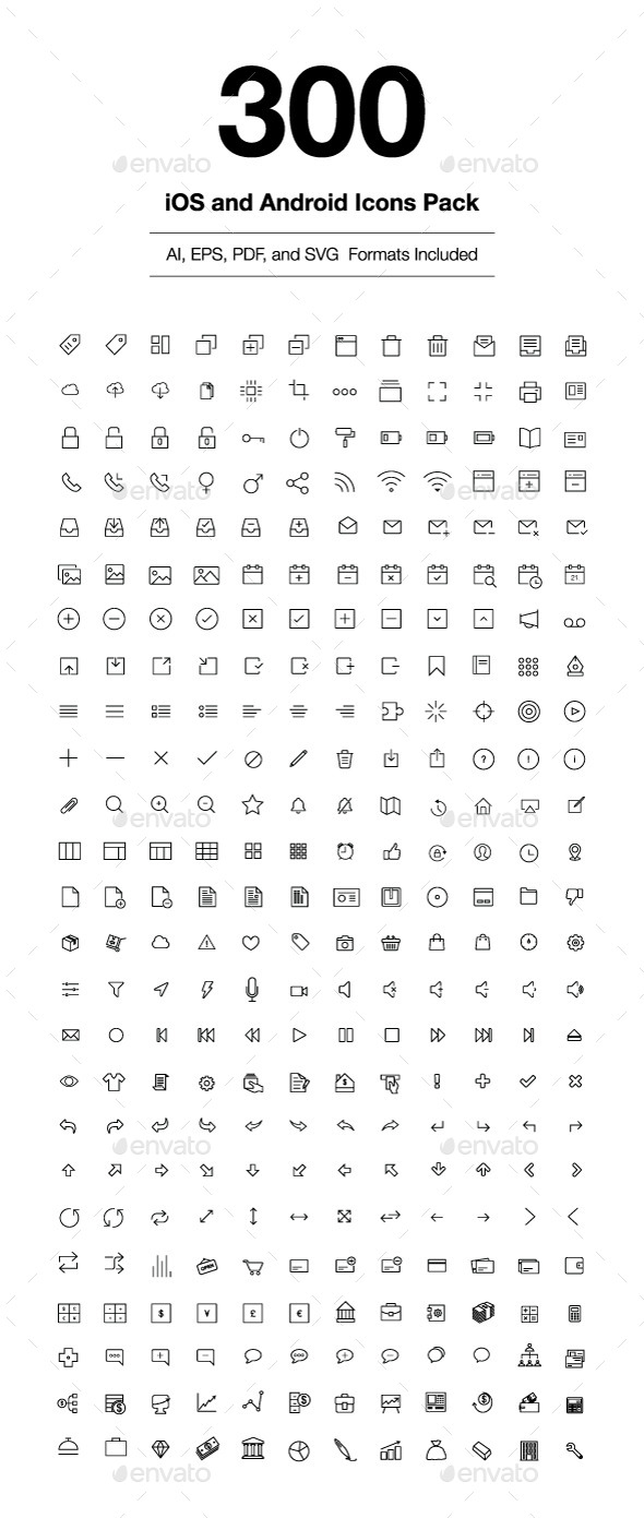 300 iOS and Android Vector Icons - Icons