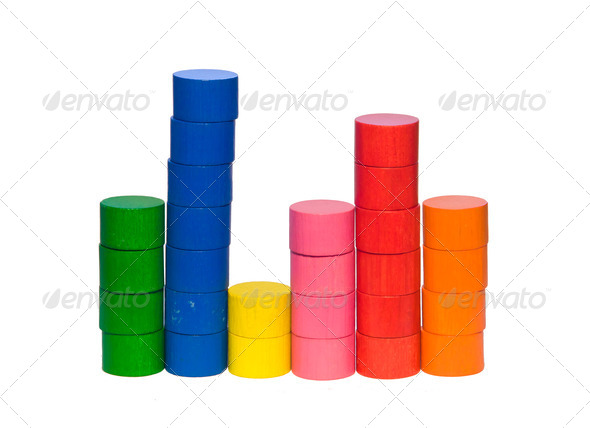 Histogram from toy tokens - Stock Photo - Images
