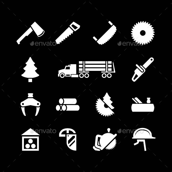 Set Icons of Sawmill, Timber and Lumber - Man-made objects Objects