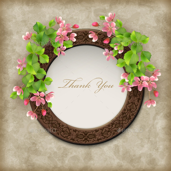 Vector Floral Thank you Card - Flowers & Plants Nature