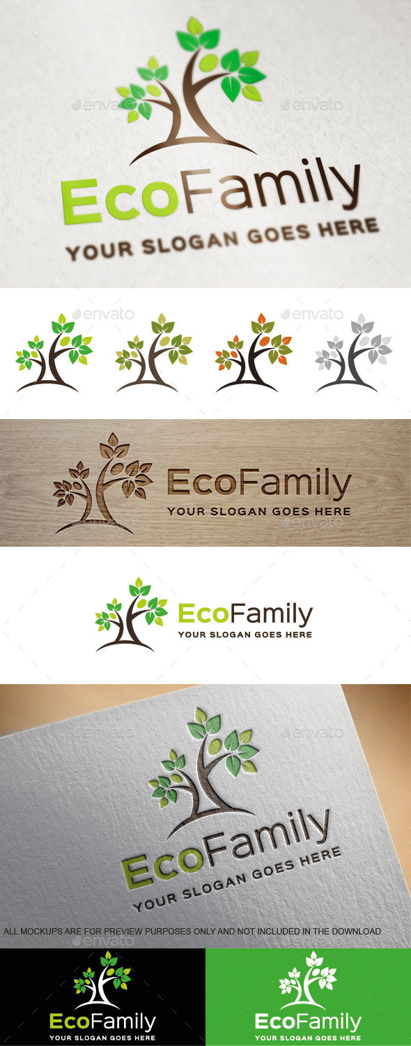 Eco Family Logo Template - Nature Logo Templates