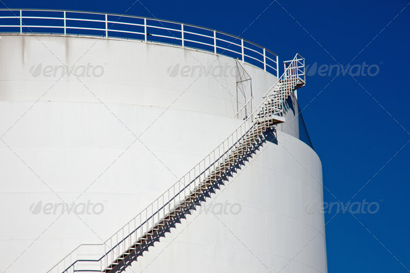 Big white industrial tank - Stock Photo - Images