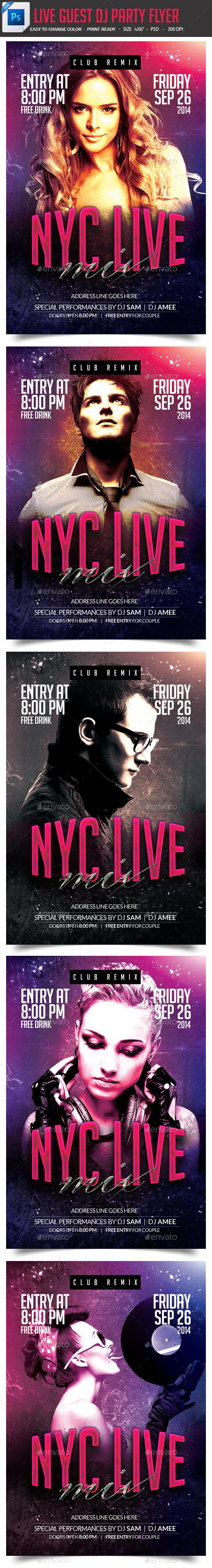DJ Artist Live Concert Flyer  - Clubs & Parties Events