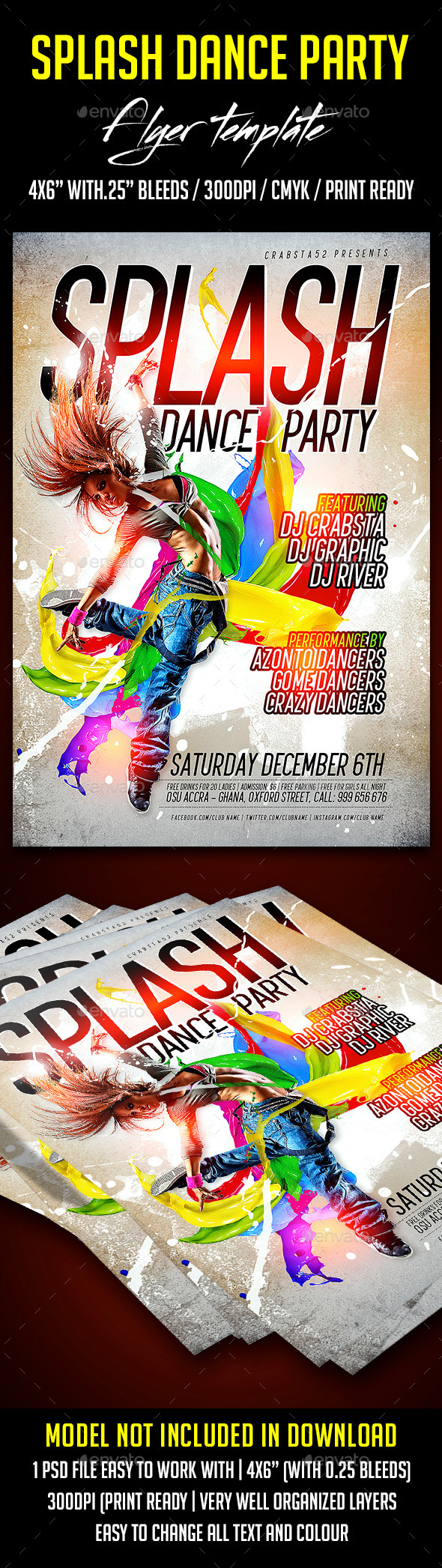 Splash Dance Party Flyer Template - Clubs & Parties Events
