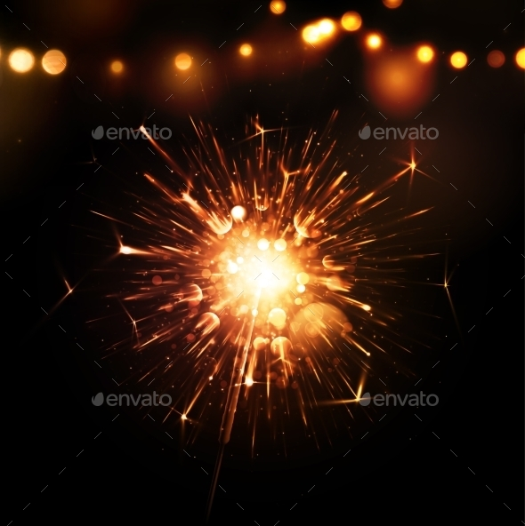 Holiday Background with Sparkler - Miscellaneous Seasons/Holidays