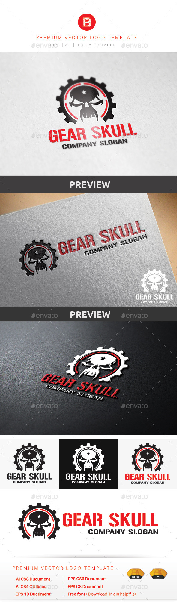Gear Skull - Humans Logo Templates