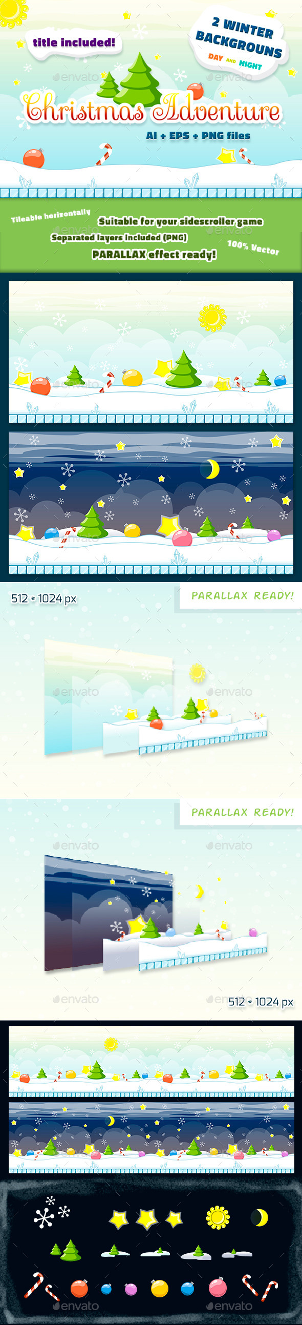 Christmas Backgrounds Set Day and Night - Backgrounds Game Assets