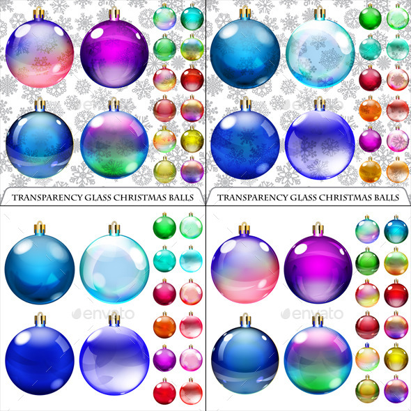 Sets of Transparent and Opaque Christmas Balls - Christmas Seasons/Holidays