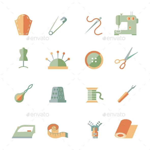 Sewing Equipment Icons Set - Business Icons
