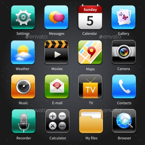 Mobile Applications Icons - Technology Icons