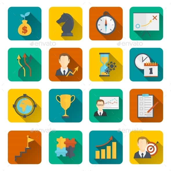 Business Strategy Planning Icon Flat - Concepts Business