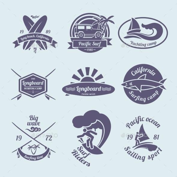 Surfing Labels Set - Travel Conceptual