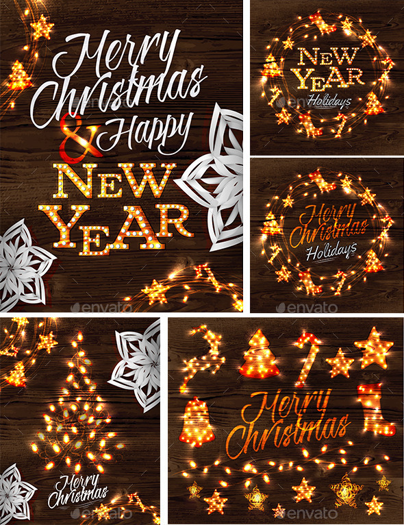 Set of Merry Cristmas and Happy New Year Posters - Christmas Seasons/Holidays