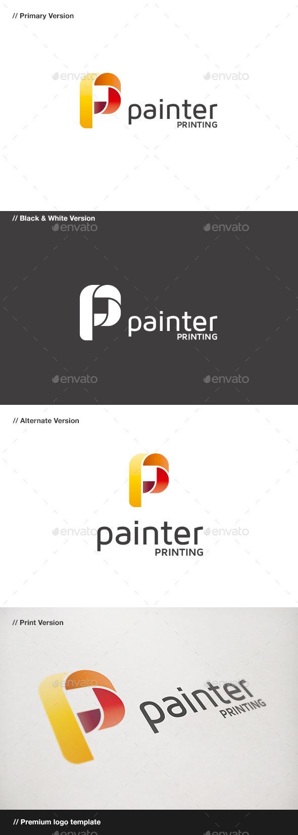 Painter - P Letter Logo - Letters Logo Templates