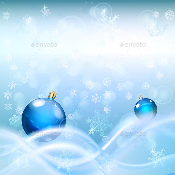Background with Waves and Christmas Balls - Christmas Seasons/Holidays