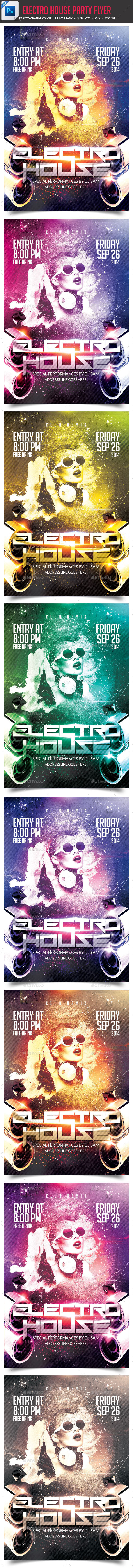 Electro House Party Flyer - Clubs & Parties Events