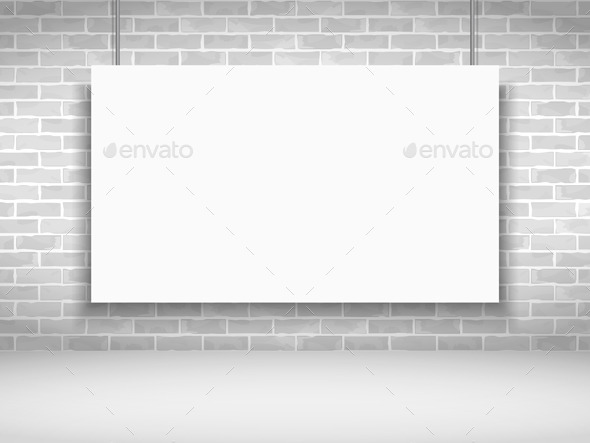 Banner on Brick Wall - Objects Vectors
