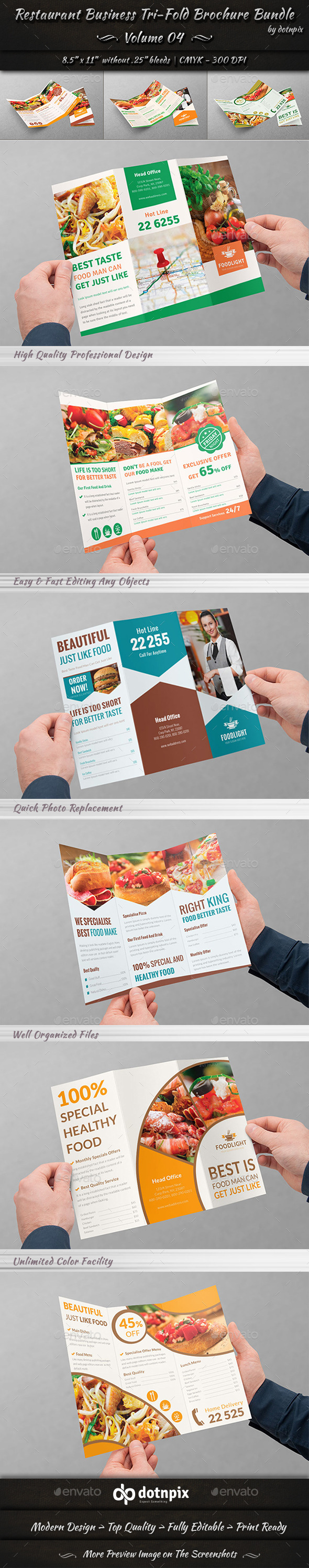 Restaurant Tri-Fold Brochure Bundle | Volume 4 - Corporate Brochures
