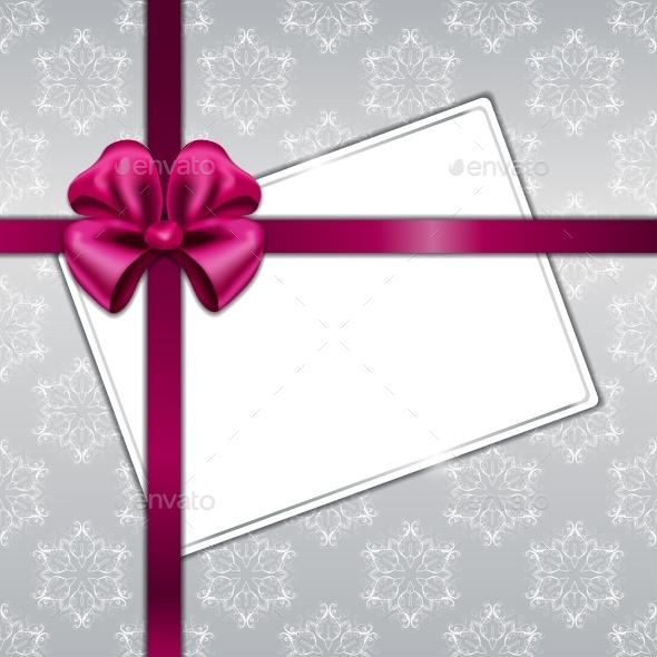 Vector Christmas Card with Ribbon - Christmas Seasons/Holidays