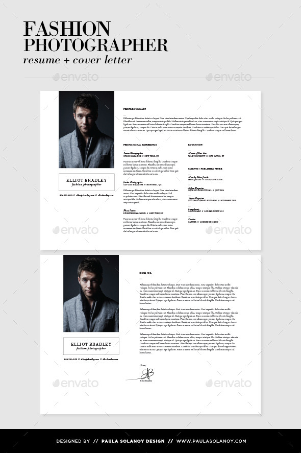 photographer resume cover letter by psolanoy graphicriver - Cover Letter For Photography