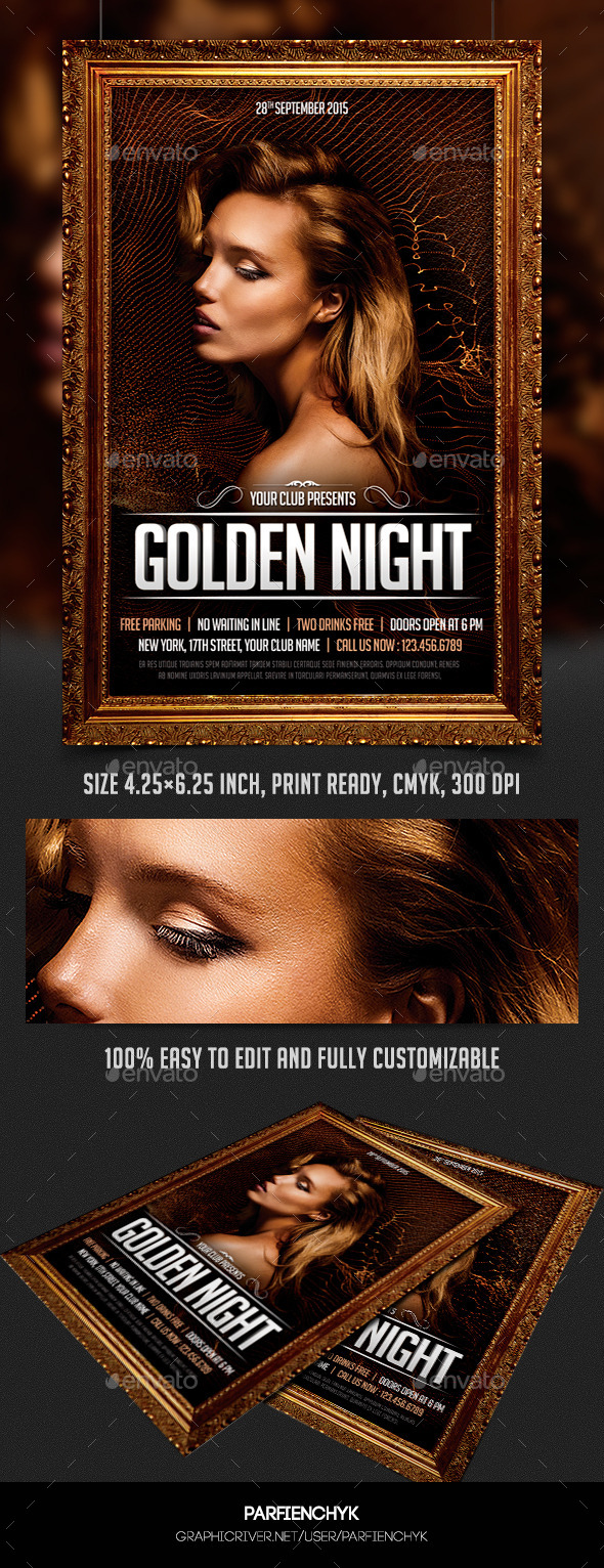 Golden Night Party Flyer Template - Clubs & Parties Events