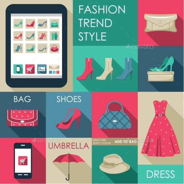 Set of Flat Design Fashion Icon for Web  - Retail Commercial / Shopping