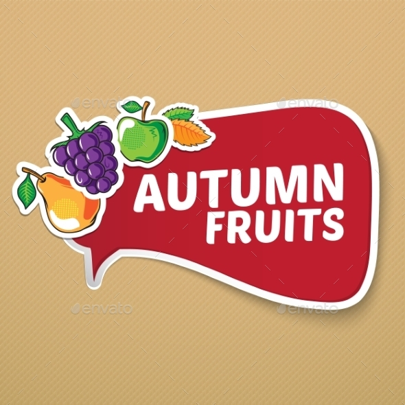 Autumn Sticker with Fruits. - Backgrounds Decorative
