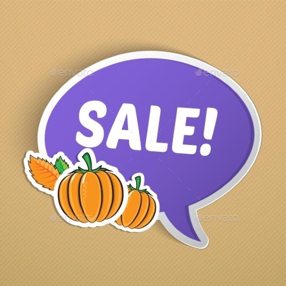 Autumn Sticker with Pumpkins. - Backgrounds Decorative