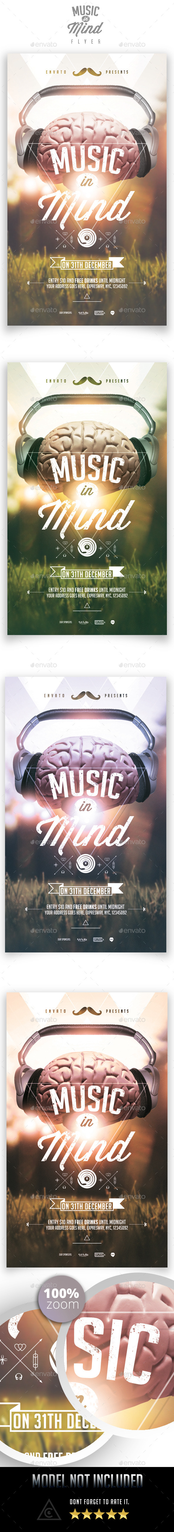 Music in Mind Flyer Template - Clubs & Parties Events