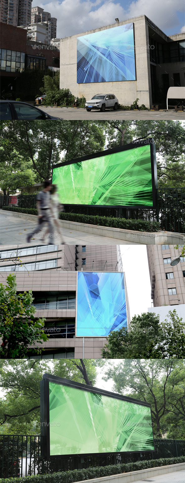 4 Outdoor Advertising Displays Mock-Ups - Product Mock-Ups Graphics