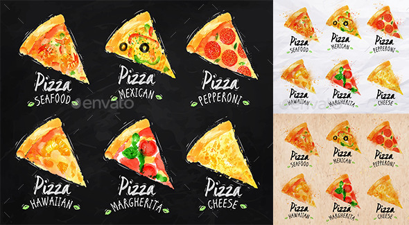 Set of Pizza Posters. - Food Objects