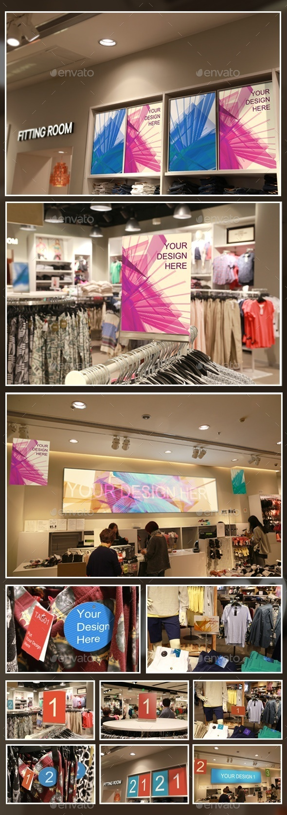 Clothing Store Posters/Tags Mockups - Product Mock-Ups Graphics