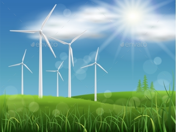 Windmills on the Meadow - Landscapes Nature