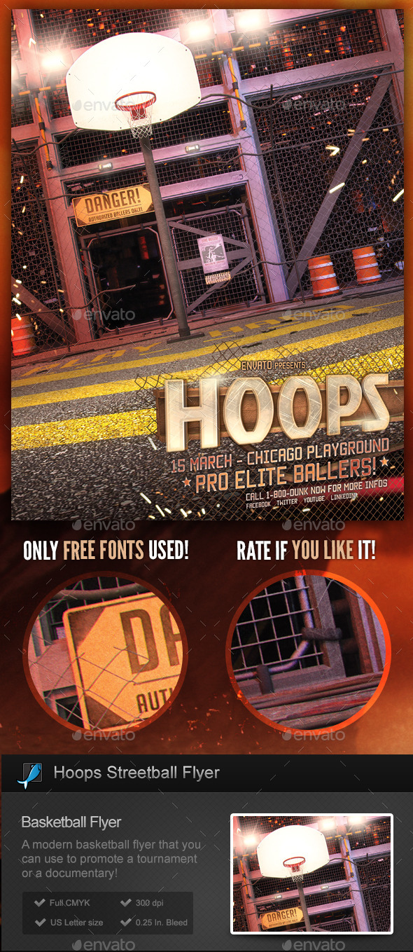 Hoops! Streetball / Basketball Flyer Template - Sports Events