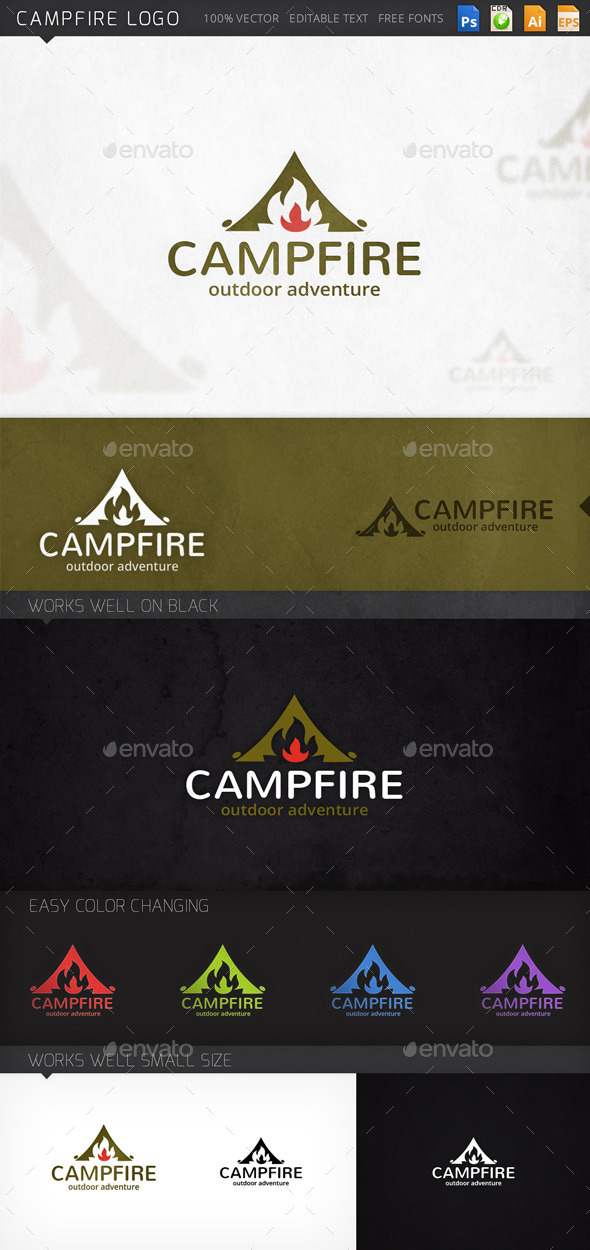 Campfire Traveling Survival Logo Template - Objects Logo Templates