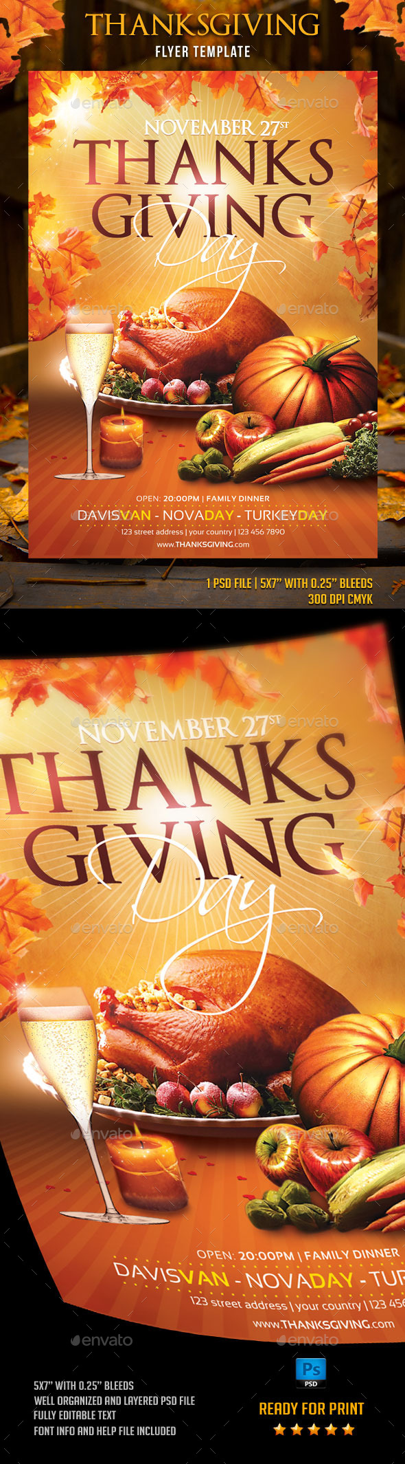 Thanksgiving Day Flyer Template - Flyers Print Templates