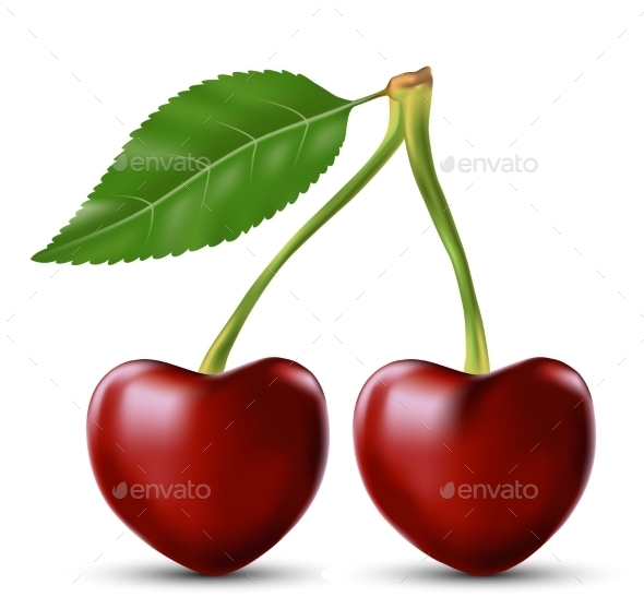 Two Lovers Cherry Like Heart - Food Objects